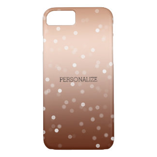 Coque iPhone 8/7 Bronze d'or et confettis blancs de Bokeh