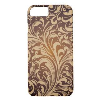 Coque iPhone 8/7 Caisse florale d'or de motif