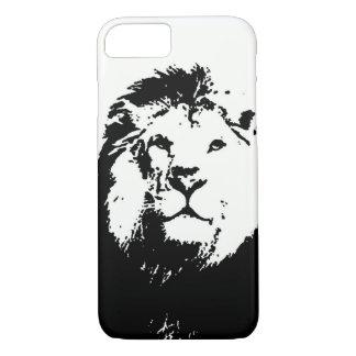 Coque iPhone 8/7 Caisse noire et blanche de l'iPhone 7 de lion