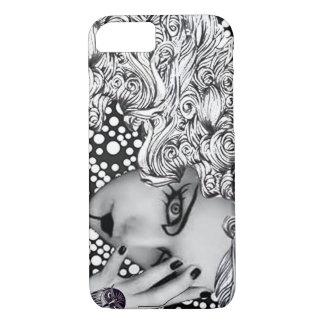Coque iPhone 8/7 Caisse pointillée de portable de femme et de hibou