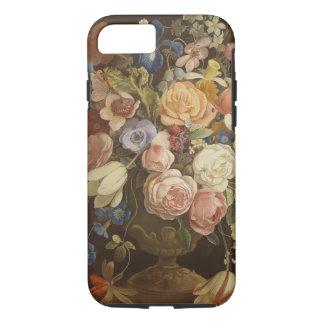 Coque iPhone 8/7 Caisse rose florale vintage élégante d'art de
