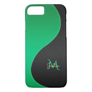 Coque iPhone 8/7 Caisse verte et noire de monogramme de l'iPhone 7