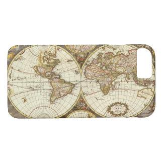 Coque iPhone 8/7 Carte antique du monde, C. 1680. Par Frederick de