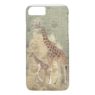 Coque iPhone 8/7 Cas de l'iPhone 7 de girafe de maman et de famille