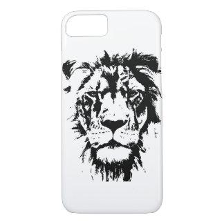 Coque iPhone 8/7 Cas de téléphone avec le lion noir et blanc
