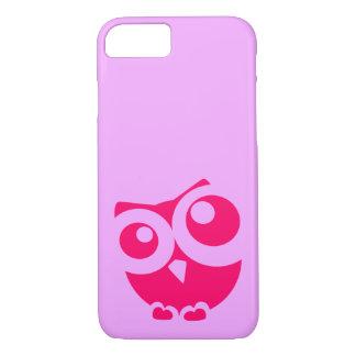 Coque iPhone 8/7 Cas simple mignon rose de téléphone de hibou