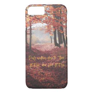 Coque iPhone 8/7 Chemin d'automne avec le poème lyrique d'hymne