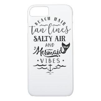 Coque iPhone 8/7 Cheveux de plage, lignes bronzages, air salé, et