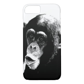 Coque iPhone 8/7 Chimpanzé blanc noir