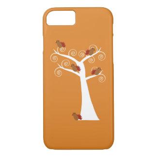 Coque iPhone 8/7 Cinq dindes de thanksgiving dans un arbre
