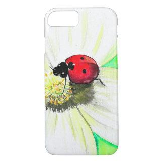 Coque iPhone 8/7 Coccinelle sur la fleur blanche