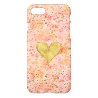 Coque iPhone 8/7 Coeur rose Girly de confettis d'aquarelle d'or
