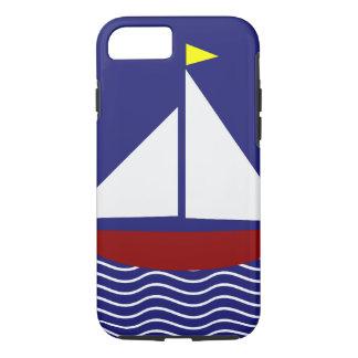 Coque iPhone 8/7 Conception de voilier de bleu marine et de rouge
