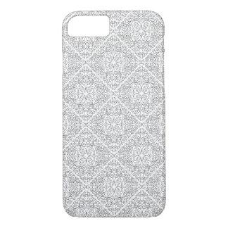 Coque iPhone 8/7 Conception en spirale noire et blanche de diamant