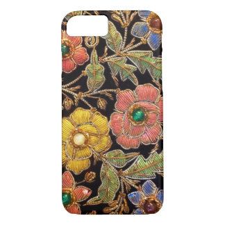 Coque iPhone 8/7 Conception florale vintage colorée de perles en