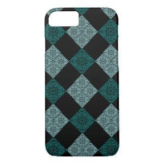 Coque iPhone 8/7 Conception turquoise de spirale de diamant -