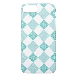 Coque iPhone 8/7 Conception turquoise légère et foncée de diamant