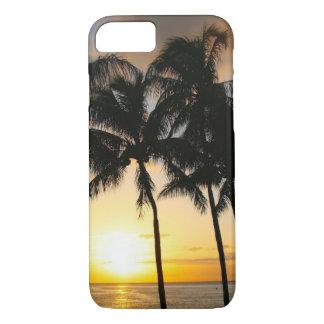 Coque iPhone 8/7 Coucher du soleil tropical de plage de palmier