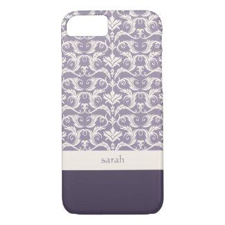 Coque iPhone 8/7 Couleur florale de coutume de motif de damassé