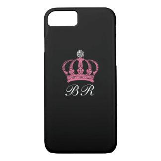 Coque iPhone 8/7 Couronne royale de la Reine de monogramme Girly