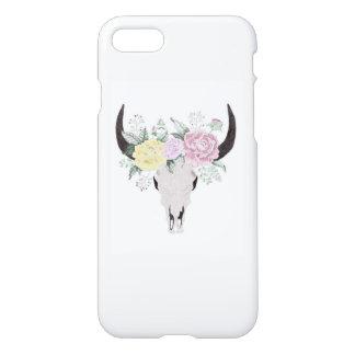 Coque iPhone 8/7 Crâne de vache à Boho avec des fleurs
