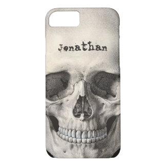 Coque iPhone 8/7 Crâne humain vintage d'anatomie, squelette de