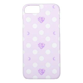 Coque iPhone 8/7 Cristal et lune en pastel de coeur