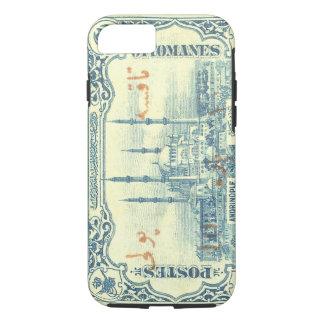 Coque iPhone 8/7 cru de timbre d'empire de tabouret de dinde - bleu