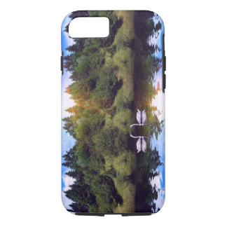 Coque iPhone 8/7 Cygnes sur la rivière, forêt au lever de soleil