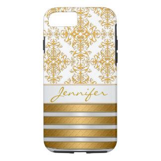 Coque iPhone 8/7 Damassé et rayures d'or personnalisées