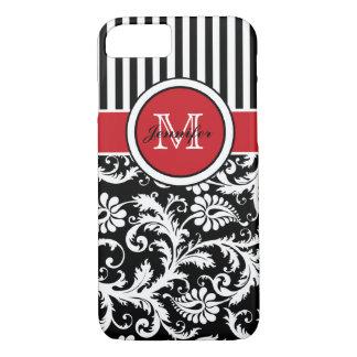 Coque iPhone 8/7 Damassé rayée blanche noire rouge de monogramme