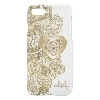 Coque iPhone 8/7 Dentelle d'or de monogramme et coeur celtique