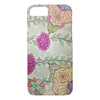 Coque iPhone 8/7 Dessin abstrait d'oiseaux et de vignes d'aquarelle