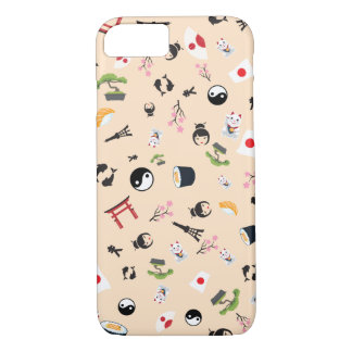 Coque iPhone 8/7 Drapeau du Japon avec les icônes célèbres