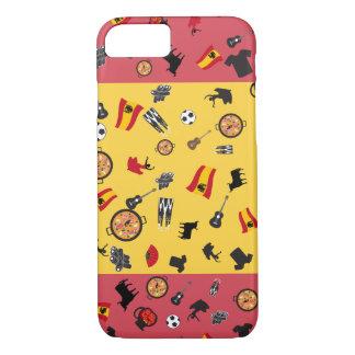 Coque iPhone 8/7 Drapeau espagnol avec les articles célèbres de