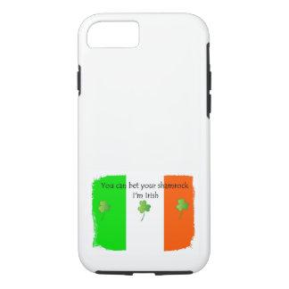 Coque iPhone 8/7 Drapeau irlandais avec des shamrocks