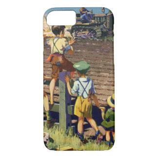 Coque iPhone 8/7 Enfants vintages saluant l'agriculteur local sur