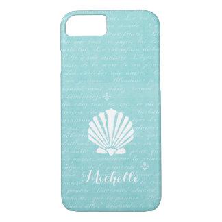 Coque iPhone 8/7 Feston Shell Girly d'Aqua de plage chic avec le