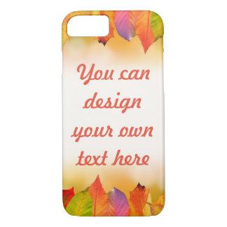 Coque iPhone 8/7 Feuille d'automne vibrant avec le texte