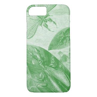 Coque iPhone 8/7 Feuille de vol vintage de sauterelle de vert