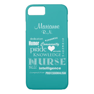 Coque iPhone 8/7 Fierté-Attributs d'infirmière+/Aqua nommé