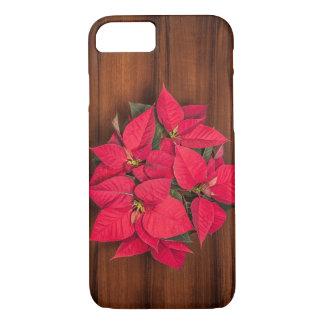 Coque iPhone 8/7 Fleur rouge de Noël sur le brun
