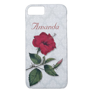 Coque iPhone 8/7 Fleur rouge foncé simple de ketmie