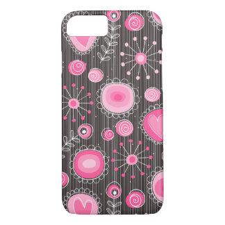 Coque iPhone 8/7 Fleurs lunatiques dans le cas rose de l'iPhone 7