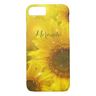 Coque iPhone 8/7 Floral jaune de fleur de tournesol personnalisé