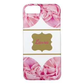 Coque iPhone 8/7 Floral rose de luxe personnalisé