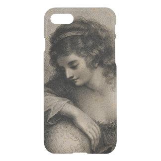 Coque iPhone 8/7 Globe vintage de femme de portrait femelle