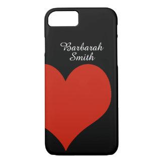 Coque iPhone 8/7 grand coeur rouge sur le noir