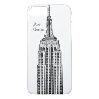 Coque iPhone 8/7 Horizon de NYC - regard gravé à l'eau-forte par