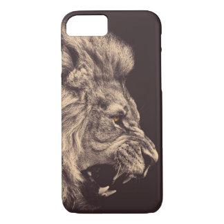 Coque iPhone 8/7 hurlement de lion d'art de crayon de lion noir et